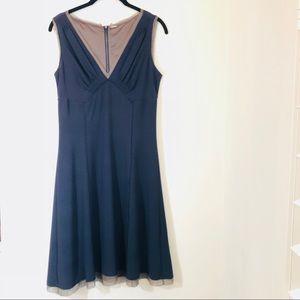 Elie Tahari sleeveless knee length navy dress